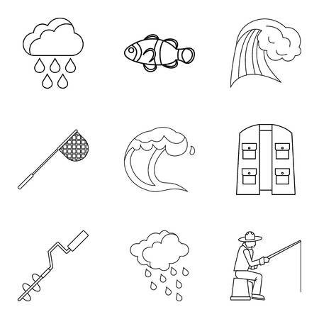 Effect of moisture icons set. Outline set of 9 effect of moisture vector icons for web isolated on white background