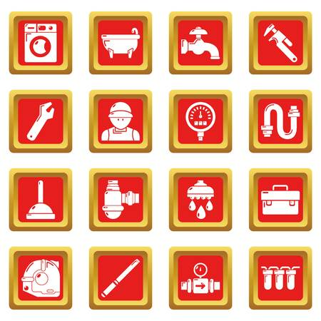 Plumber symbols icons set red square vector