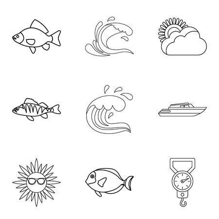 Moisture meter icons set, outline style