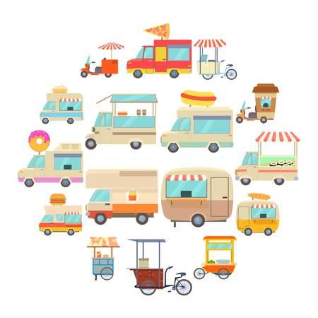 Street food vehicles icons set, cartoon style Illustration