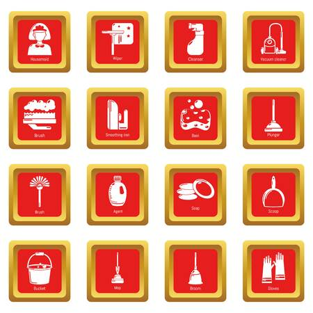 Cleaning tools icons set vector red square isolated on white background
