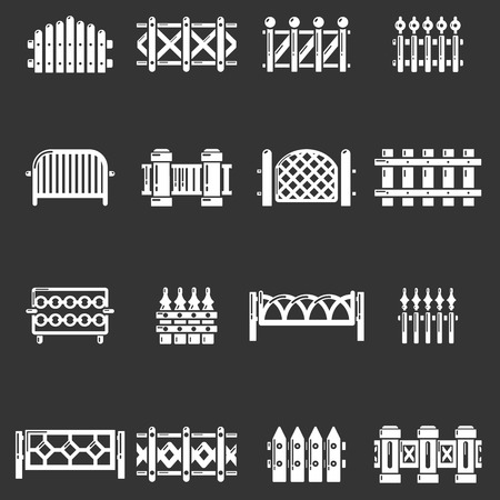 Different fencing icons set gray  vector illustration.