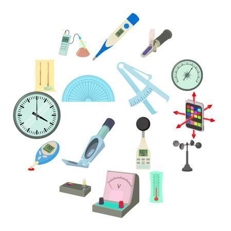 Measure tools icons set, cartoon style Illustration