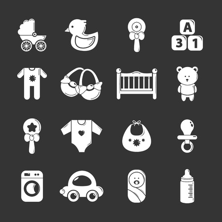 Baby born icons set gray vector