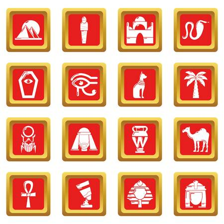 Egypt travel icons set vector red square isolated on white background