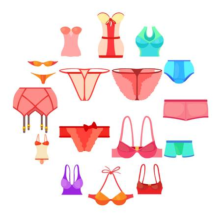 Underwear icons set color. Cartoon illustration of 16 underwear color vector icons for web Stock Illustratie
