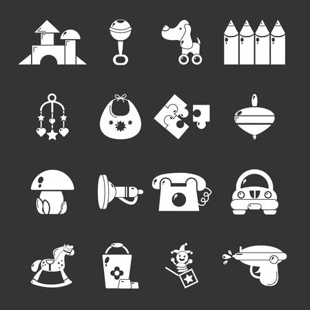 Kindergarten tools icons set vector white isolated on grey background