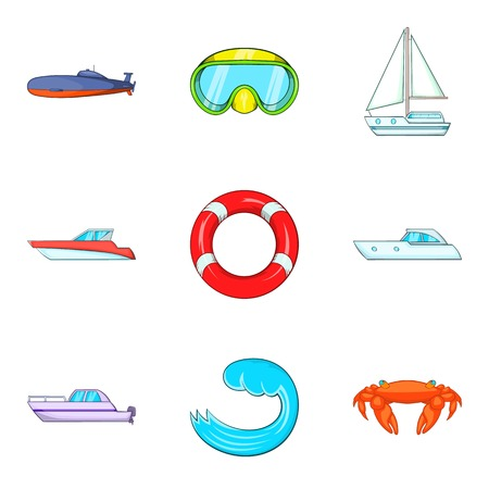 Water surface icons set. Cartoon set of 9 water surface vector icons for web isolated on white background Illustration