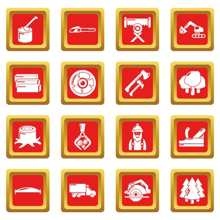 Timber industry icons set vector red square isolated on white background  Illustration