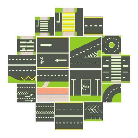Set di icone del modulo costruttore di strade. Un'illustrazione del fumetto di 16 icone di vettore del modulo del costruttore della strada per il web