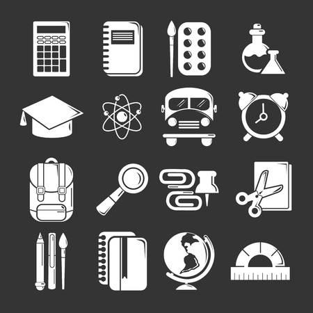 icônes scolaires scolaires mis vecteur isolé sur fond gris