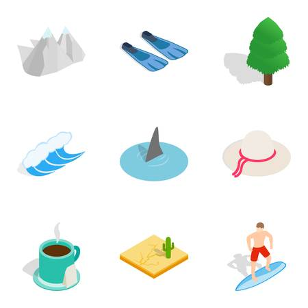 Watercourse icons set. Isometric set of 9 watercourse vector icons for web isolated on white background