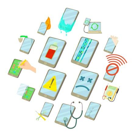 Repair phones fix icons set, cartoon style