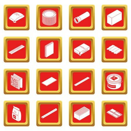 Building materials icons set vector red square isolated on white background