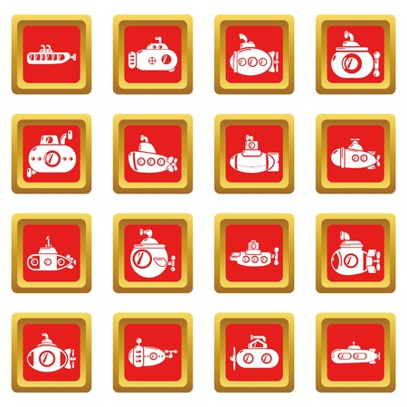 Submarine icons set vector red square isolated on white background