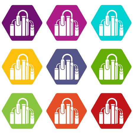 Factory icons set 9 vector illustration.