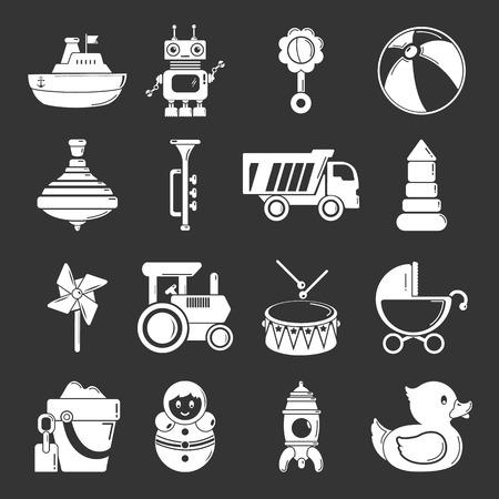 Kids toys icons set vector white isolated on dark background Vettoriali