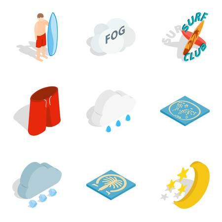 Inland water icons set, isometric style