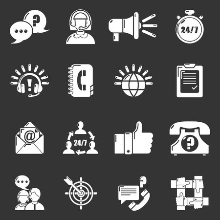 Call center icons set gray  vector Ilustrace