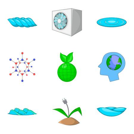 Power station icons set, cartoon style vector illustration