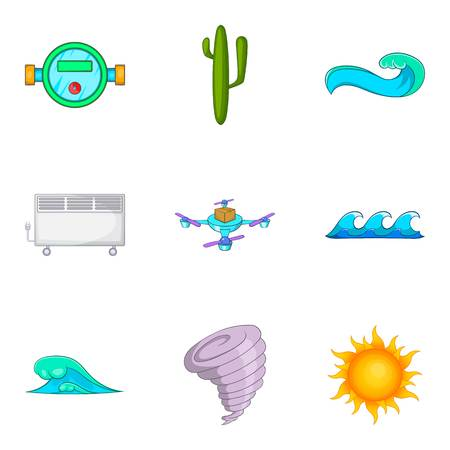 Water station icons set, cartoon style
