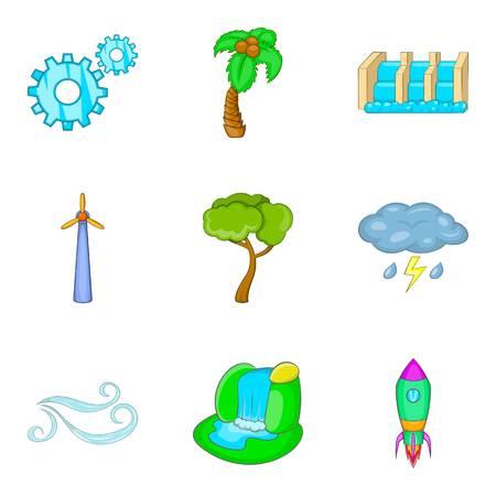 Waterworks icons set, cartoon style vector illustration Çizim