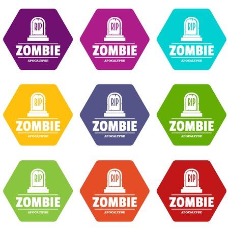 Zombie death icons set.