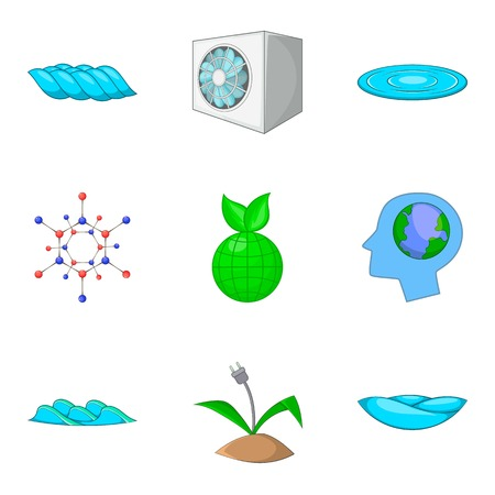 Power station icons set, cartoon style