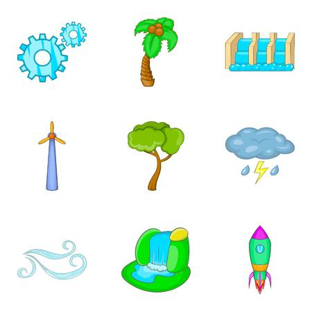 Waterworks icons set, cartoon style
