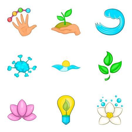Water supply station icons set, cartoon style Illustration