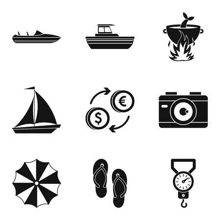 Sea recreation icons set, simple style Иллюстрация