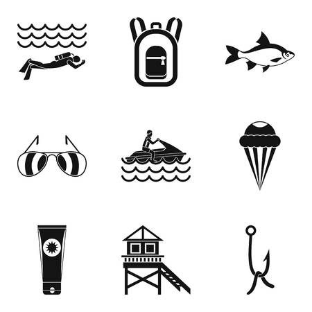 River rest icons set. Simple set of 9 river rest vector icons for web isolated on white background