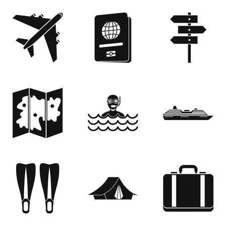 River recreation icons set. Simple set of 9 river recreation vector icons for web isolated on white background