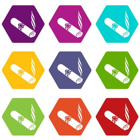 Cigar icons 9 set coloful isolated on white for web Illustration