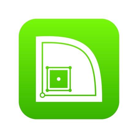 Baseball field icon digital green
