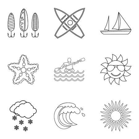 Water vital icons set, outline style