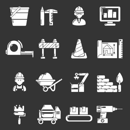 Building process icons set grey vector