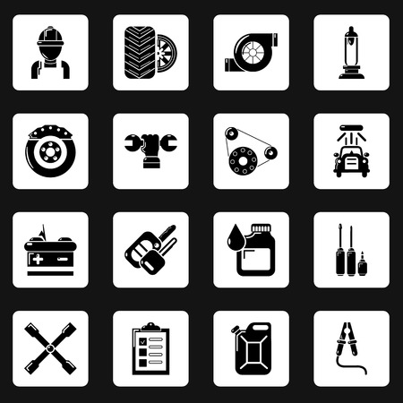 Auto repair icons set. Simple illustration of 16 auto repair vector icons for web