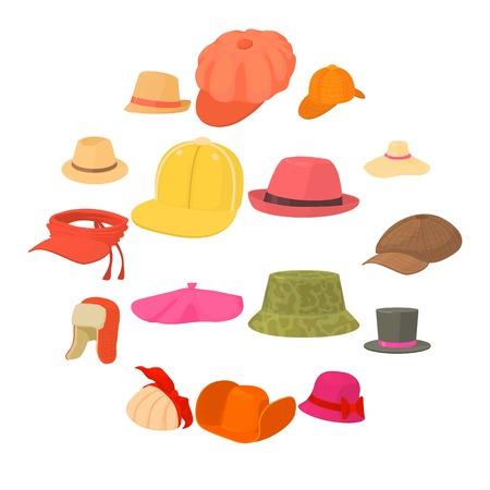 Hat types icons set headdress. Cartoon illustration of 16 hat types headdress vector icons for web