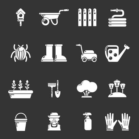 Gardener icons set vector white isolated on grey background