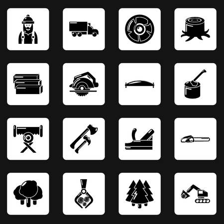 Timber industry icons set. Simple illustration of 16 timber industry vector icons for web