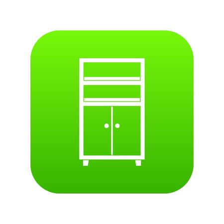 Wooden cabinet icon digital green for any design isolated on white vector illustration