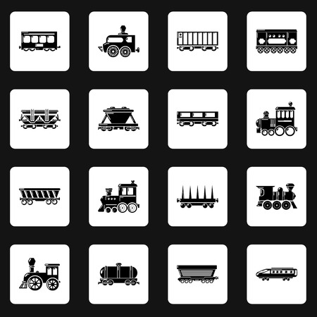 Railway carriage icons set. Simple illustration of 16 railway carriage vector icons for web