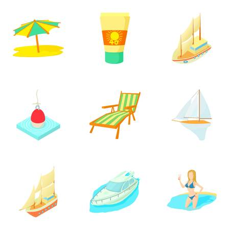 Tropical pleasure icons set. Cartoon set of 9 tropical pleasure vector icons for web isolated on white background