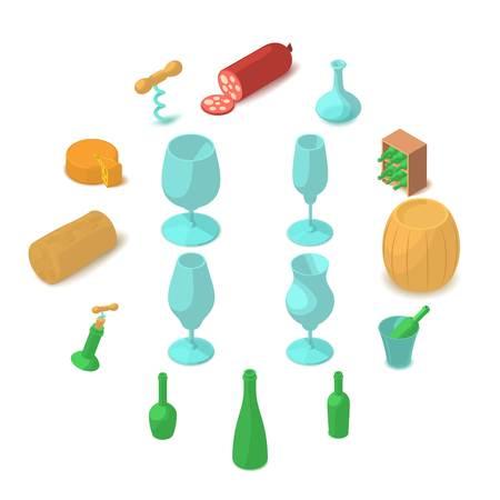 Winemaking icons set. Cartoon illustration of 16 winemaking vector icons for web Illustration