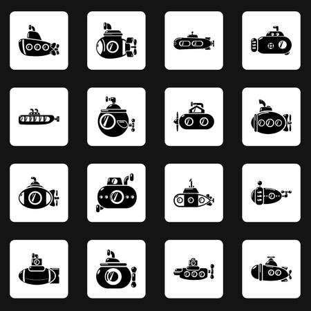 Submarine icons set. Simple illustration of 16 submarine vector icons for web