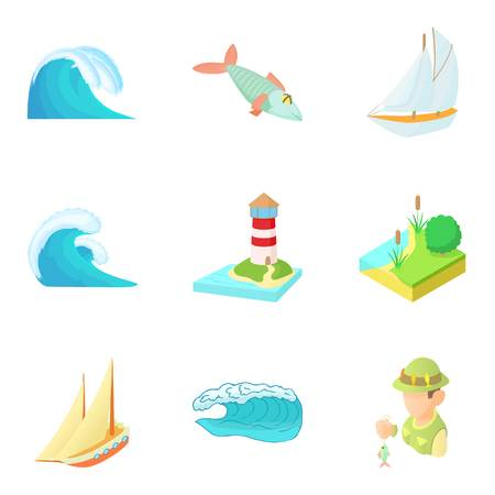 Water freedom icons set. Cartoon set of 9 water freedom vector icons for web isolated on white background Illustration