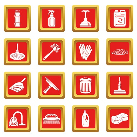 Cleaning icons set vector red square isolated on white background  Çizim