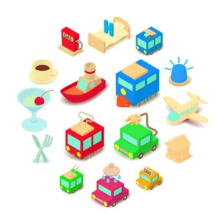 Points of interest icons set. Cartoon illustration of 16 points of interest vector icons for web