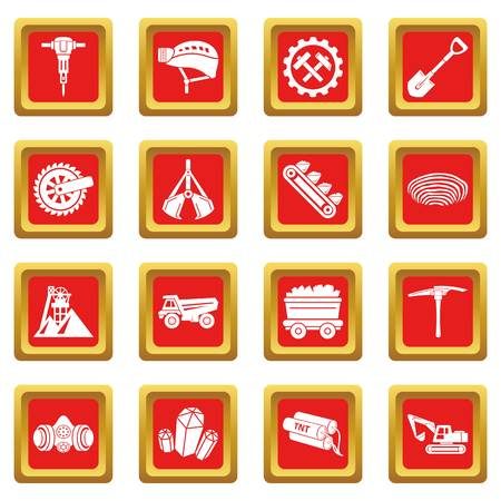 Coal mine icons set vector red square isolated on white background  Illustration